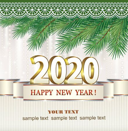 New Year and Christmas 2020 greeting card. Vector illustration