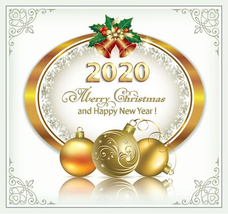 New Year 2020 background golden oval with snowflakes.Vector illustration Vetores