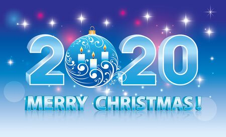 Merry Christmas 2020. Banner blue sparkling background with stars, Christmas ball with candles, 3d format 일러스트