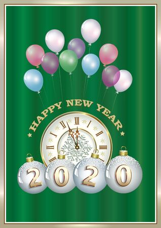 Christmas card with new year balls with date 2020 against the background of clock and balloons