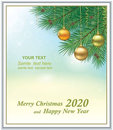 New Years background 2020 with balls on fir branches. Vector illustration