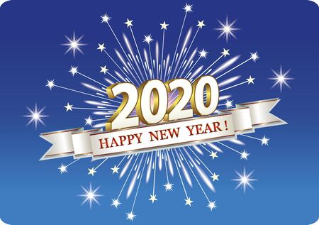 Christmas card with date 2020 on blue background with fireworks and ribbon