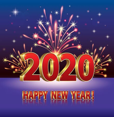 Happy New Year 2020. Greeting card with the date on the background with fireworks