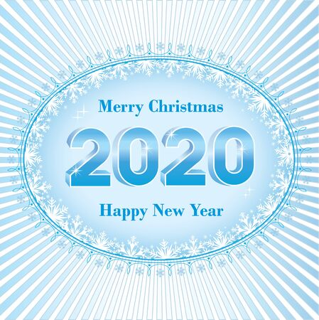 2020 Happy New Year. Holiday banner with the date 2020 in three dimensional image on blue background with radial rays