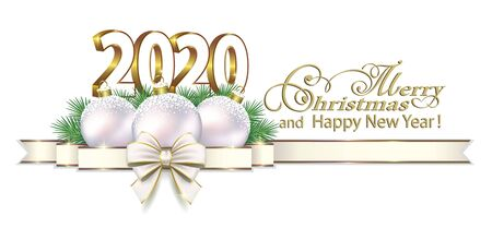 2020 Merry Christmas and Happy New Year background with Christmas decorations