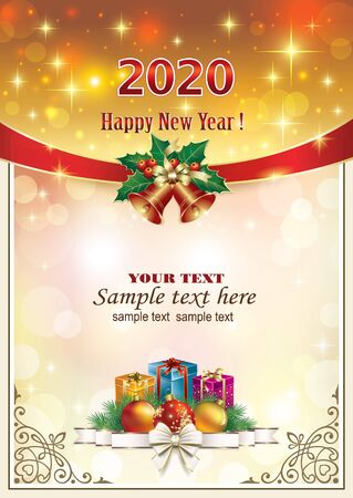 Happy New Year 2020. Festive colored background with gifts and Christmas balls. Vector illustration