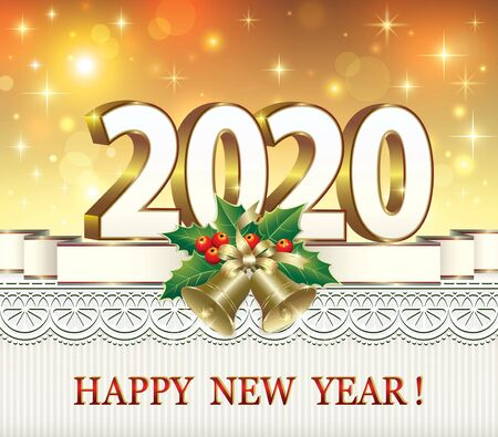 New Year card wit date in 3d image on luminous background with ribbon bells and ornament.Vector illustration
