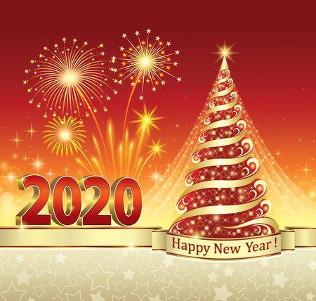 Nieuwjaarsviering 2020 met kerstboom en vuurwerk. Wenskaart met sterren en rode achtergrond versierd met gouden lint. Vectorillustratie