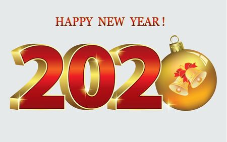 New Year holiday banner with the date 2020 with ball and bells in three-dimensional format