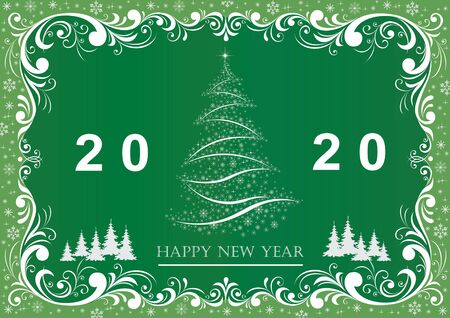 Happy New Year 2020. Greeting card with Christmas tree on green background with beautiful ornament