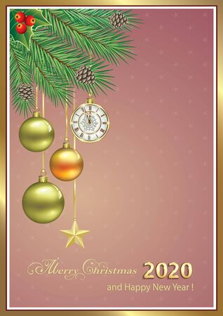 2020 Happy New Year. Christmas background with clock, balls and stars on spruce branches on elegant background with place for text