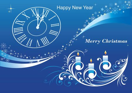 2020 Merry Christmas. Background with candle, clock, pattern wave with snowflakes and stars. 向量圖像