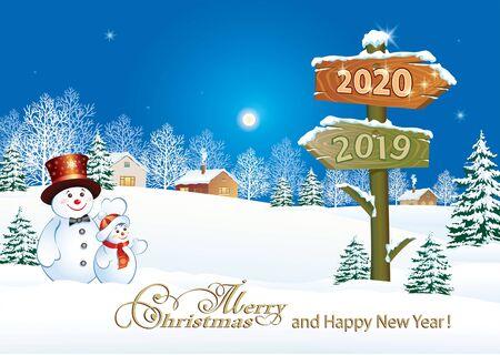Carte de voeux de bonne année 2020 avec des bonhommes de neige drôles et un panneau d'affichage sur le paysage d'hiver. Illustration vectorielle