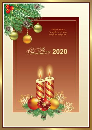 2020 Christmas background with candles, balls, snowflakes, fir branches with cones and place for text. Vector illustration