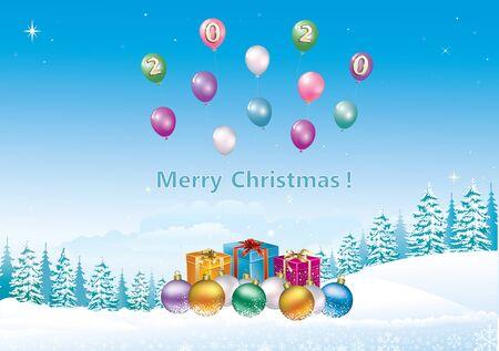 Szczęśliwego Nowego Roku 2020. Kartka świąteczna z pudełkami na prezenty, kulkami na tle zimowego śnieżnego krajobrazu z jodłami i balonami. Ilustracja wektorowa