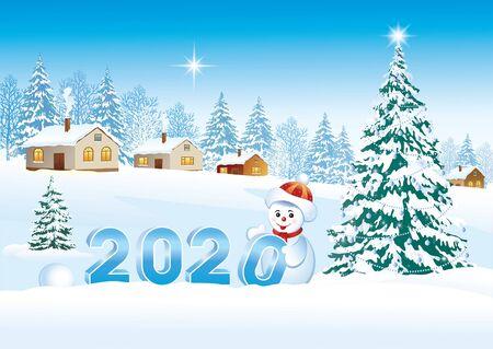 Feliz año nuevo 2020. Postal con un árbol de Navidad y un muñeco de nieve. Ilustración vectorial
