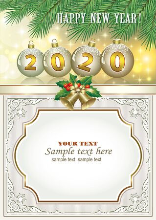 New Year 2020. Festive decorative frame with Christmas decoration and fir branches, place for messages. Vector illustration Standard-Bild - 134823256