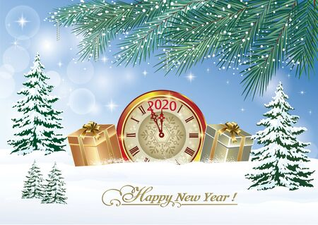 Happy New Year 2020. Christmas card with a clock and gift boxes on a snowy winter background. Vector illustration