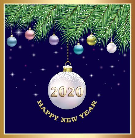 Happy New Year 2020. Greeting card with colorful Christmas balls on fir branches. Vector illustration Standard-Bild - 134823260