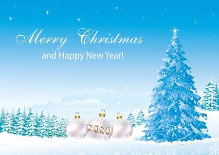 Frohes neues Jahr 2020. Weihnachtsbaum auf dem Hintergrund des verschneiten Winters