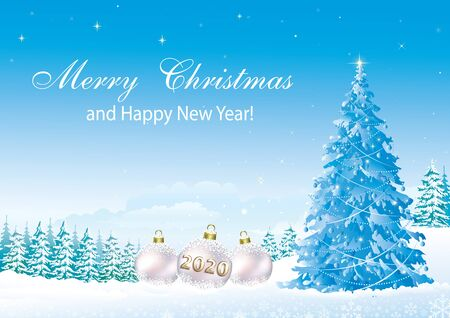 Happy New Year 2020. Christmas tree on a background of snowy winter