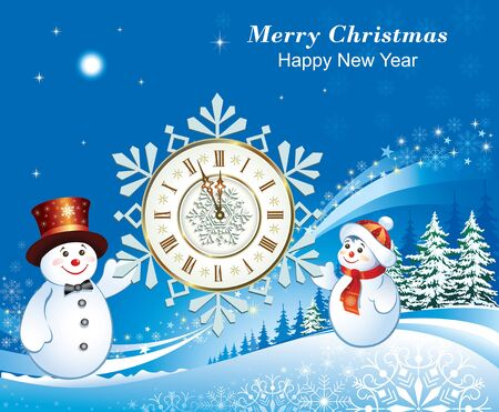 Happy New Year 2020. Christmas card with snowmen and a clock on a blue background with snowflakes and fir trees