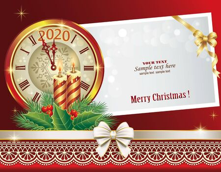 2020 New Year card with a clock and candles on the background of a paper sheet for message