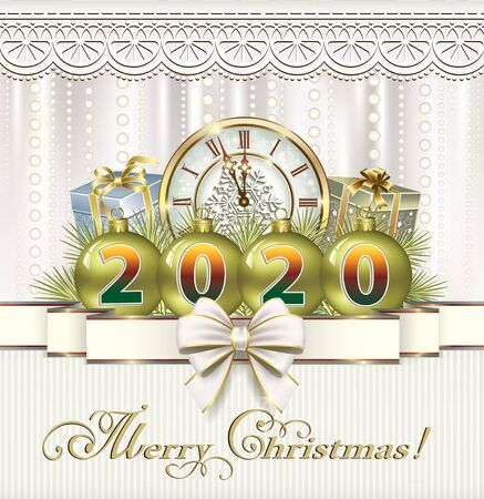 Happy New Year 2020. Christmas card with a clock, balls, gift boxes decorated with ribbon and bow  イラスト・ベクター素材