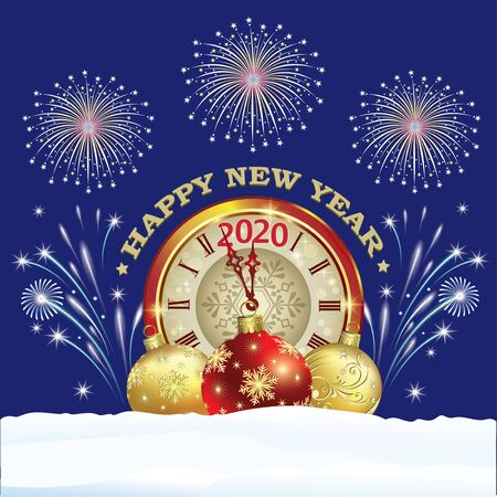 Merry Christmas and Happy New Year 2020. Greeting card with a clock and balls on a blue background with firework