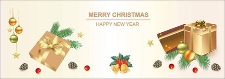 2020 Christmas background with gifts and New Year decoration. Vector illustration