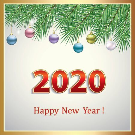 Happy New Year 2020. Greeting card with colorful Christmas balls on fir branches. Vector illustration Standard-Bild - 134823284