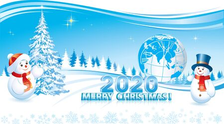 Happy New Year 2020. Christmas tree and snowman on the background of the planet Earth and nature Stock Illustratie