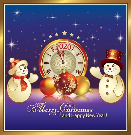 Happy New Year 2020. Christmas card with snowmen, clock and balls on a blue background with stars