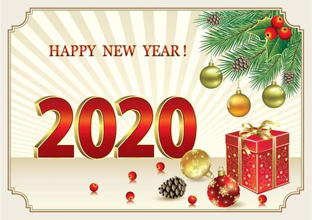 Happy New Year 2020. Christmas card with gift box and balls on fir branches. Holiday background with rays