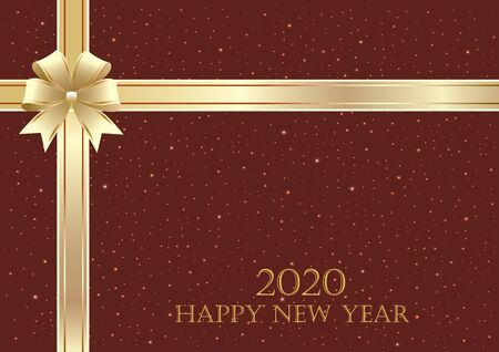 Happy New Year 2020. Festive glowing background decorated with a gold ribbon and bow Stock Illustratie