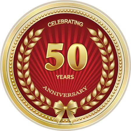 Plantilla de logotipo de aniversario de 50 años, diseño de vector dorado para celebración, invitación o tarjeta de felicitación Logos