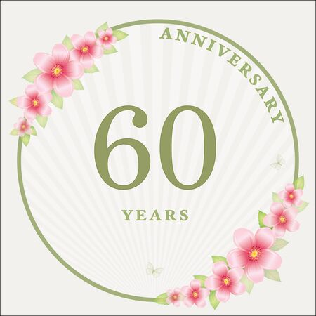 60 years anniversary. Vector design festive background for celebrations