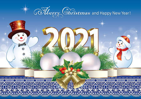 Happy New Year 2021. Greeting card with decorations on blue background with ornament. Vector illustration