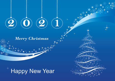 New Year 2021 background with Christmas Tree. Design for holiday invitation cards, posters, banners, cards, printers. Vector illustration.