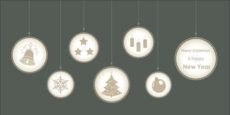 Happy New Year 2021. Christmas background with elements of holiday decorations, greeting card with xmas baubles. Vector