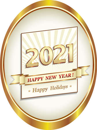 Happy New Year 2021. Happy Holidays. Gold vector design background in oval for greeting card, badge, business, logo