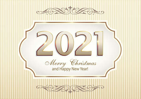 Merry Christmas and Happy New Year. Holiday banner with sign 2021 in an original curly frame on light background with pattern. Vector illustration