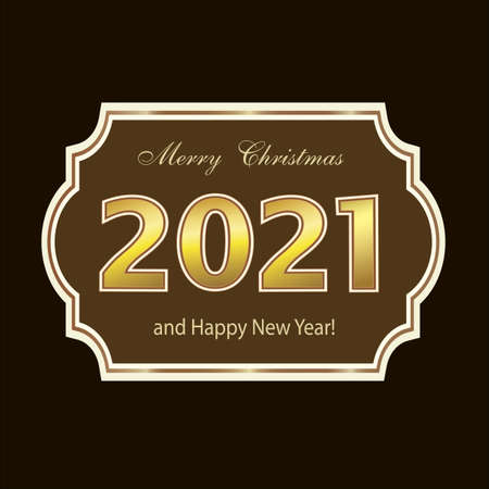 Happy New Year 2021. Christmas card, holiday poster, design background with original curly frame with wishes text. Vector illustration 向量圖像
