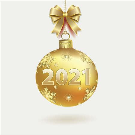 Merry Christmas and Happy New Year. 2021 sign on a gold Christmas ball hanging from chain with original bow. Light background. Vector illustration Ilustracja