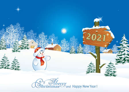 Merry Christmas and Happy New Year 2021. Greeting card with winter nature, snowy landscape and cheerful snowman near billboard with 2021 sign. Vector illustration