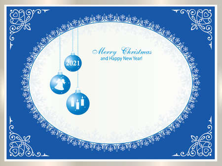 Happy New Year 2021. Christmas background with elements of holiday decorations in frame with snowflakes and place text. Vector illustration Ilustracja