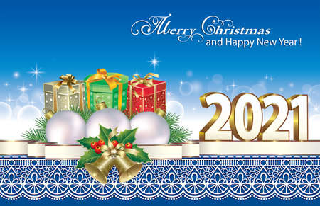 Merry Christmas and Happy New Year 2021. Christmas greeting card with gift boxes, New Year decoration on a blue glowing background with pattern. Vector illustration