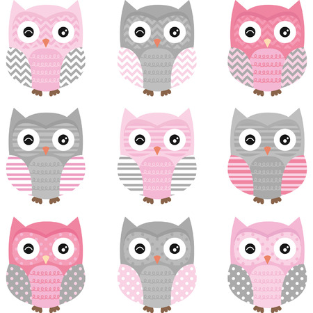 owl illustration: Pink and Grey Cute Owl Collections