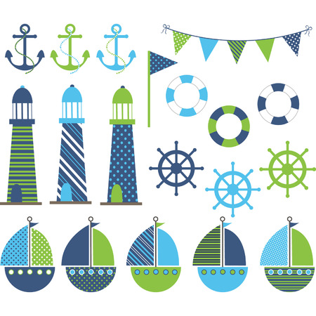 blue and green: Blue Green Nautical Collections Illustration