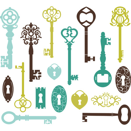 door key: Vintage Keys Silhouette
